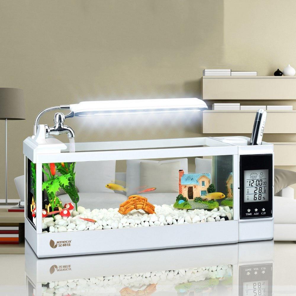 Mini Aquarium USB de réservoir de poissons avec la lumière de lampe à LED écran d'affichage à cristaux liquides calendrier et horloge mini réservoir de bureau aérobie décor à la maison