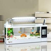 Mini Aquarium 1.5L Fish Tank Aquarium With LED Lamp Light LCD Display Screen and Clock Fish Tank Desktop Aquarium Fish Tanks