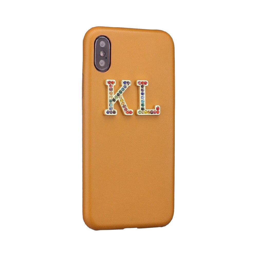 Стразы, бриллианты, кристалл, металл, индивидуальные инициалы для iPhone 11 Pro 6S XS Max XR 7 7Plus 8 8Plus X, гладкий тонкий кожаный чехол - Цвет: Brown Leather Case