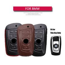 KUKAKEY obudowa kluczyka do samochodu przypadku dla BMW 520 525 f30 f10 F18 118i 320i 1 3 5 7 serii X3 X4 M3 M4 M5 prawdziwej skóry obudowa kluczyka samochodowego tanie tanio Górna Warstwa Skóry Key Case Remote Smart 3 Button C006 Key Case For BMW