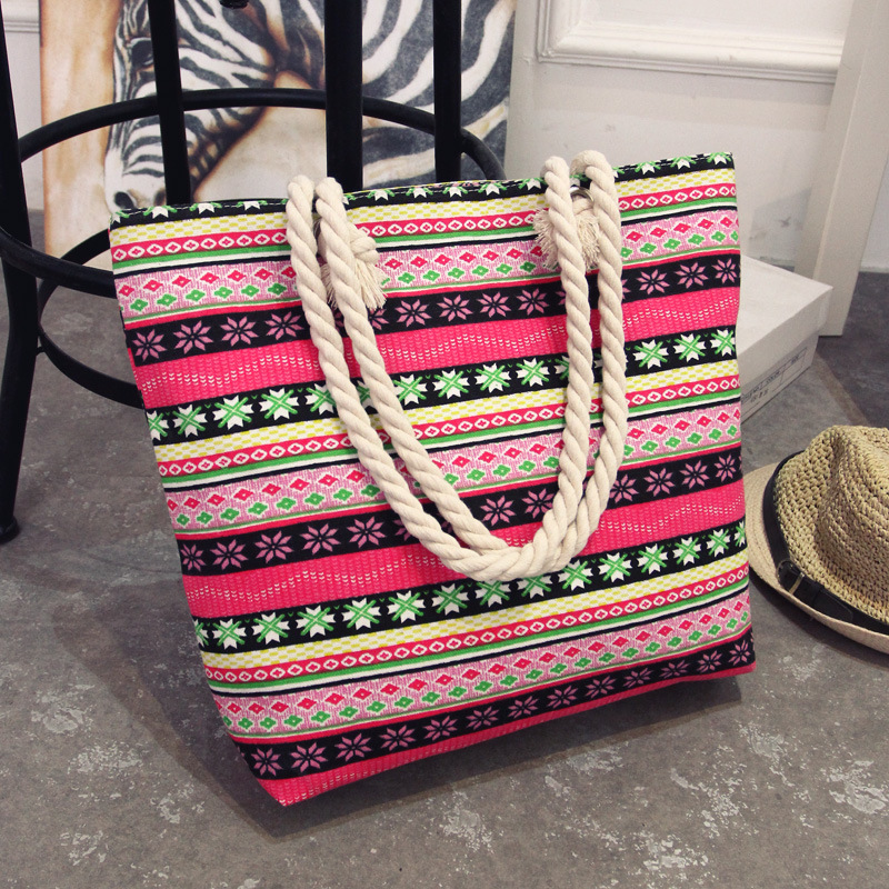 2018 New Summer Women Canvas Bohemian Style Casual Tote Shopping Big Bag Female Striped Shoulder Beach Bag floral Messenger Bags