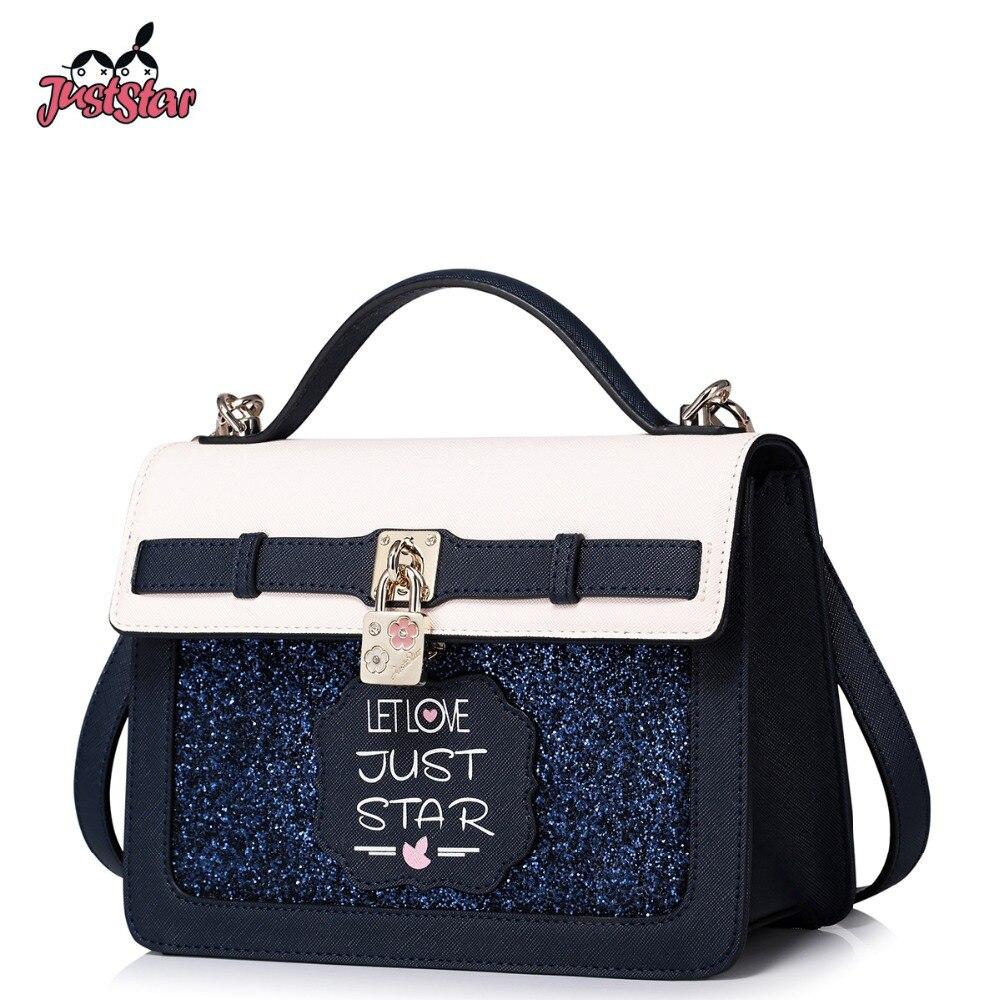 9e95aa61e1 JUST STAR Women s Leather Handbags Ladies Fashion Lock Flower Shoulder  Purse Female Flap Panelled All-match Messenger Bags