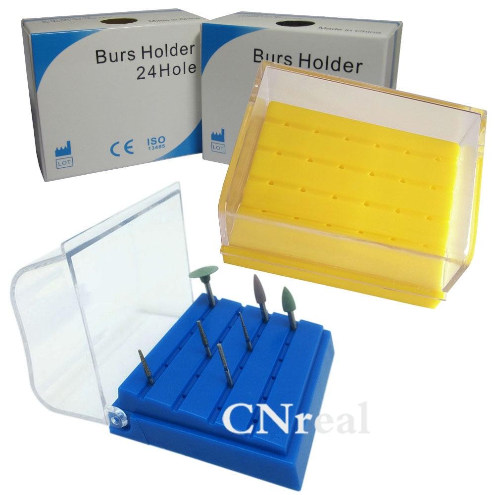 1 pc Dental Burs Holder Block Autoclave Disinfection Box Lab Equipment 24 Holes