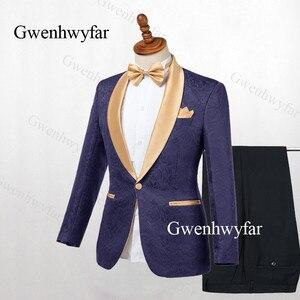 Image 4 - Gwenhwyfar Chaqueta de solapa dorada para hombre, esmoquin negro, trajes de 2 piezas, traje de Jacquard, esmoquin, para trajes de hombre para bodas (chaqueta + pantalones), 2019