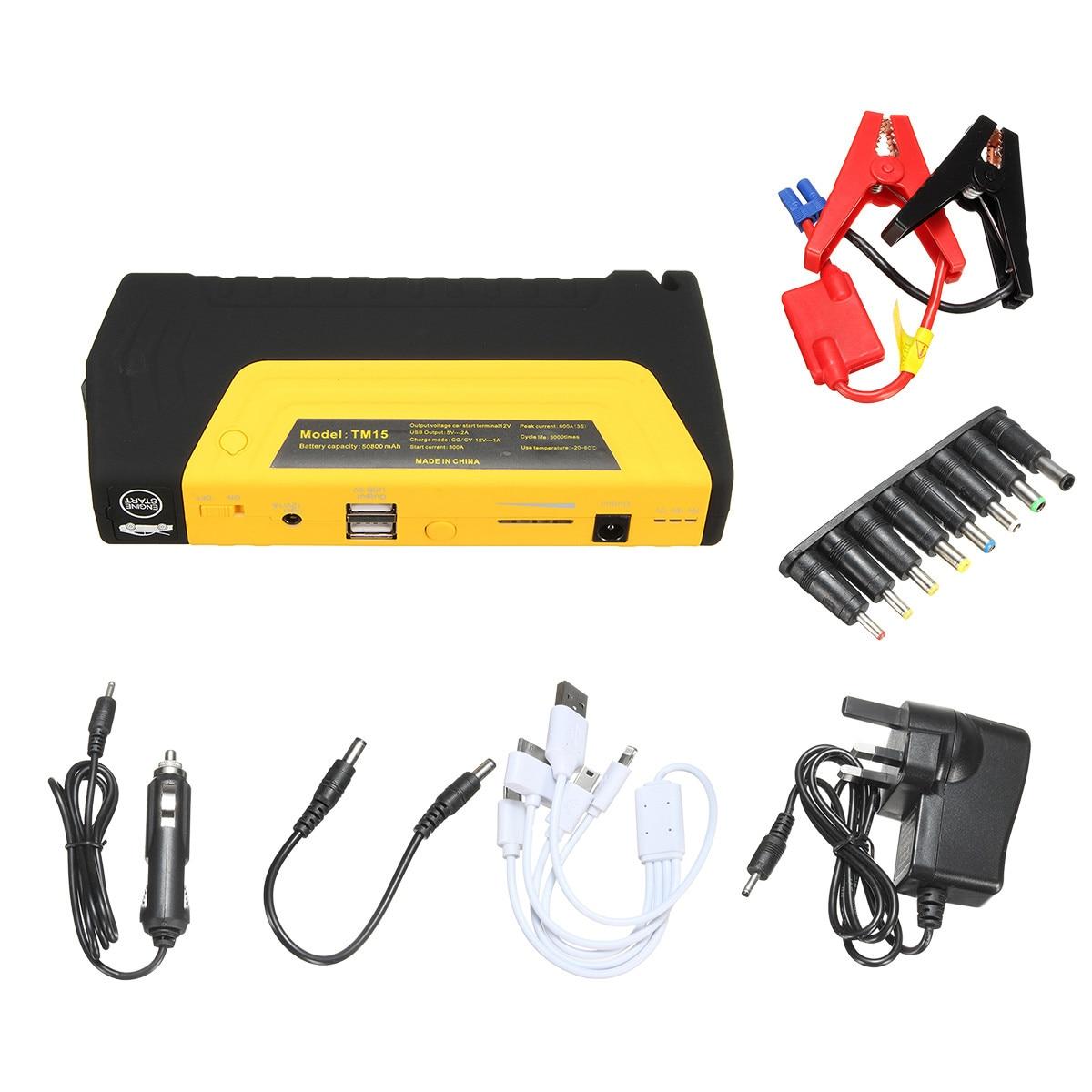 50800mAh LED Dual USB Car Jump Starter Booster Portable Power Bank Backup Charger Power Supply