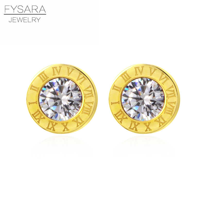 FYSAYA Lady Jewelry Roman Number Stud Earring Crystal Gold-Color 316L Stainless Steel Love Earrings For Women Earring Party Gift