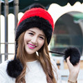 Real mink fur hat autumn winter black/white/gray ladies knitted ear protector natural fur cap with pom furs mink and fox 03-P26-