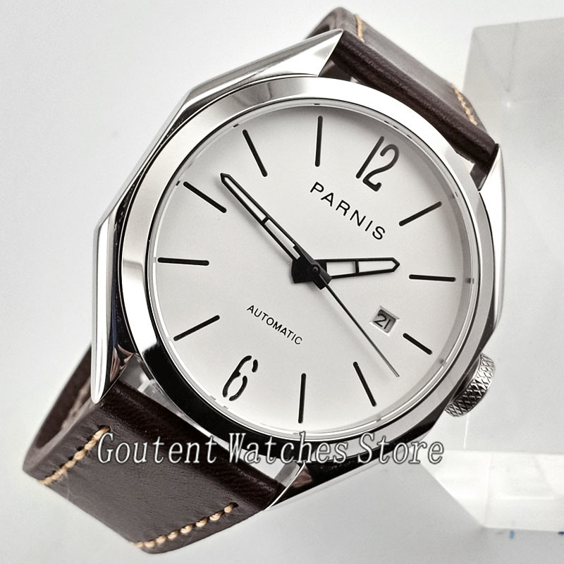 43mm Parnis Men Watch White Dial Coffee Leather Band 21 Jewel Miyota 821A Automatic Movement 2771