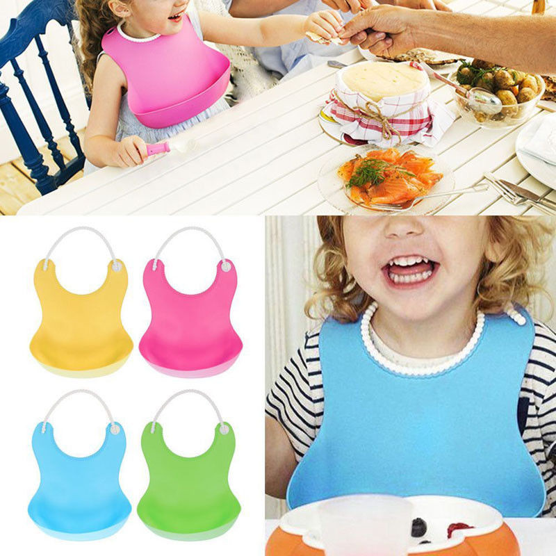 Hot Dropship Baby Infants Kids Cute Food Silicone Bibs Lunch Creative Waterproof Bib