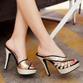 New 2016 Platform Pumps Open Toe High Heels Women Pumps Sandals Thin Heel Lady Shoes Woman Summer Cool Slippers Rivets Sequins