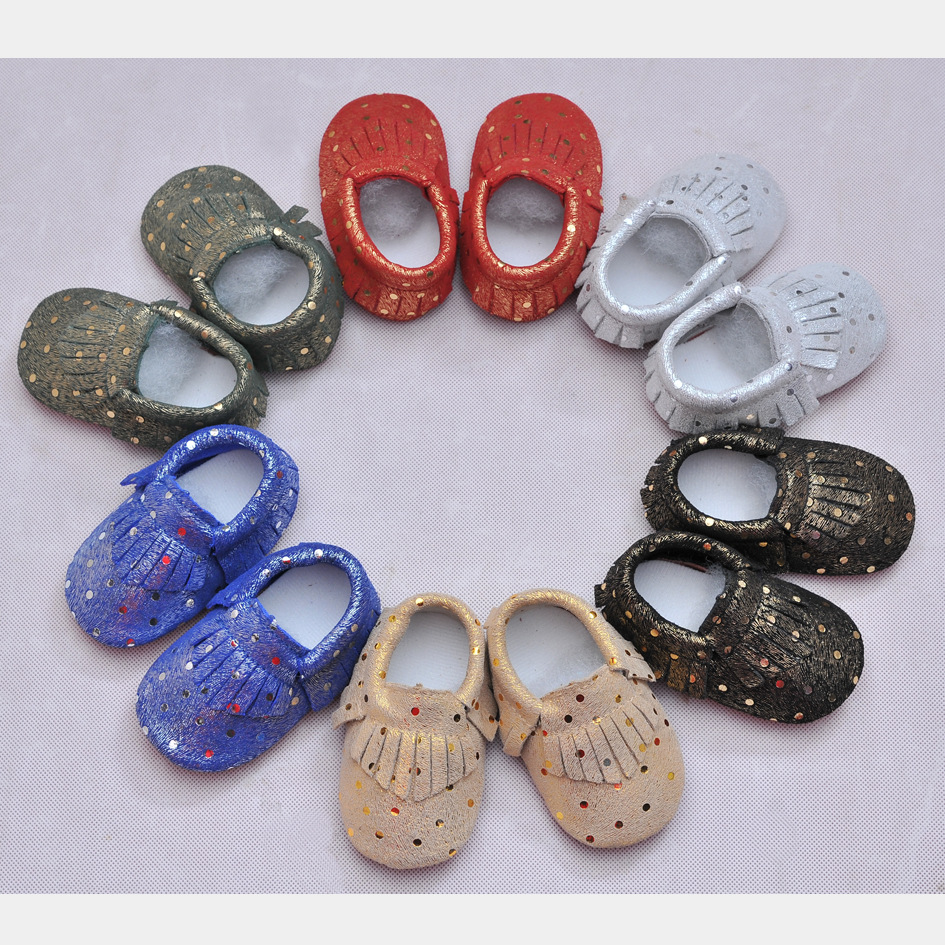 Genuine Leather First Walkers Golden dot Baby shoes Fringe Baby moccasins Boys Shoes Free shipping
