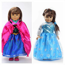 18 Inch American Girl Doll Clothes Princess Elsa Anna dress Fits 18 American Girl Dolls Mix