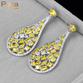 Classic Silver Plated Women Evening Party Synthetic CZ Diamond Jewelry Big Round Drop Yellow Cubic Zircon Earrings For Gift E211