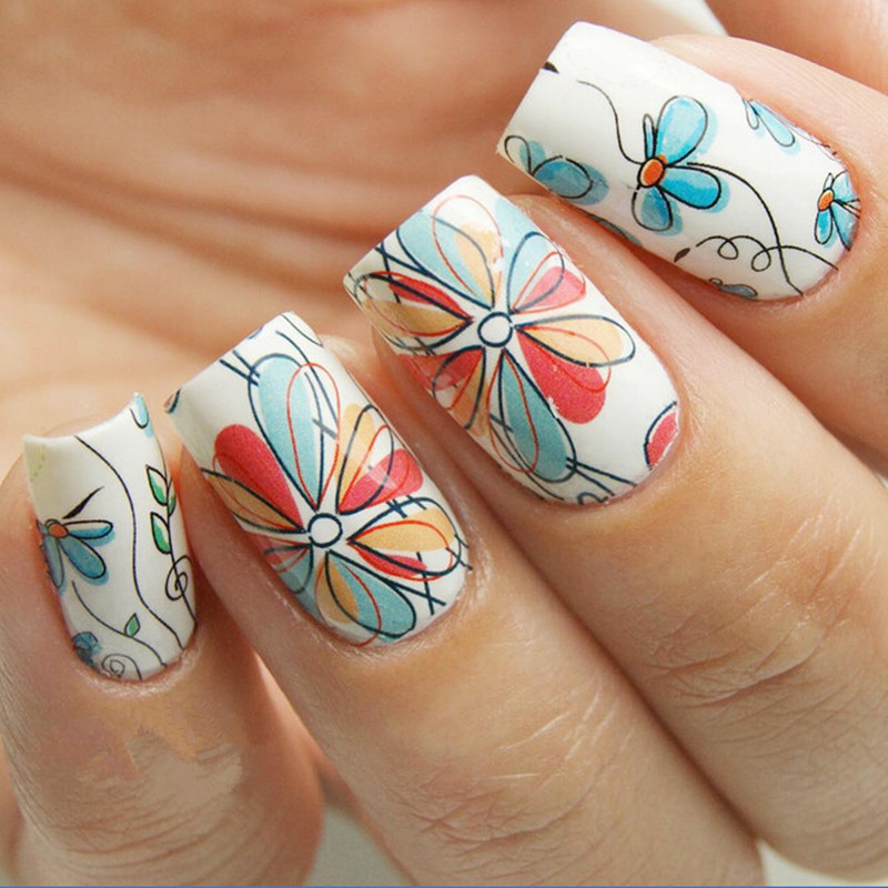1 Sheet BORN PRETTY Nail Sticker Cute Flower Pattern Nail Art Water Decals Nail Transfer Stickers  BP-W17 yzwle 1 sheet chic flower nail art water decals transfer stickers splendid water decals sticker yzw 1398