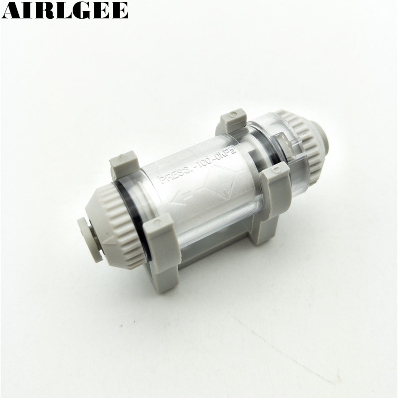 ZFC100-04B Pipe Type Vacuum Filter 4mm OD Tube One Touch Fitting In Line Type Pneumatic filter 185l min pneumatic valve female vacuum generator zh20ds 03 04 04 nozzle diameter 2mm basic 88kpa tubular type contact pipe