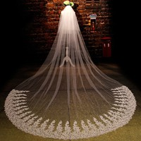 ZYLLGF Gorgeous Lace Vintage Wedding Veils Wedding Hair Accessories Veils For Bride Veu De Noiva 3 Metros BV44