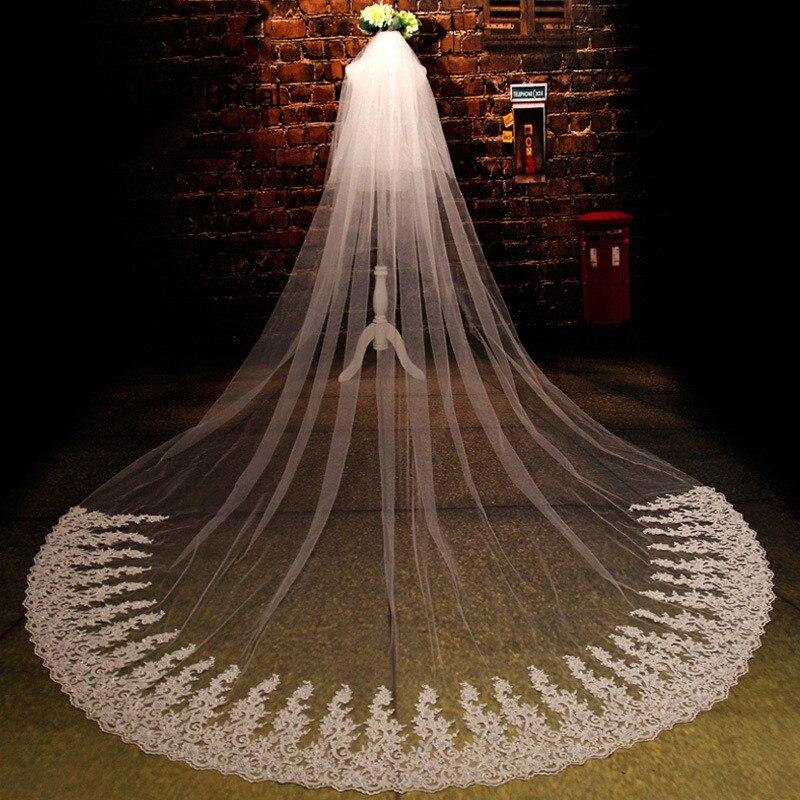 Zyllgf Великолепная Кружева Урожай фаты свадебные аксессуары для волос вуали для невесты вэу де noiva 3 метро BV44