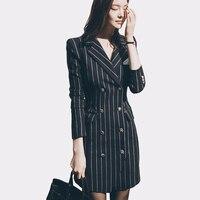2017 אופנה הגעה חדשה משרד ליידי Slim פסים בלייזר חליפות עבודת שמלה אלגנטית פיצול סקסי מחורצים נשים Feminino