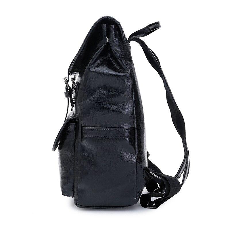 Роскошный кожаный деловой черный мужской рюкзак для ноутбука, мужские школьные рюкзаки для подростков, мужской рюкзак для ноутбука, мужска... - 4