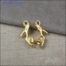High Quality 10 Pieces/Lot 9mm*20mm Gold Color High Heeled Shoes Charm Jewelry Making Charms(China)