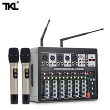 TKL DSP8 7 Channel Mixer Amplifier With Wiress Microphone DJ Sound Mixing Console with USB 48V Phantom Power For karaoke Stage yuepu ru 8ts professional sound audio mixer 8 channel 48v phantom power reverbration mixing console player usb music for dj