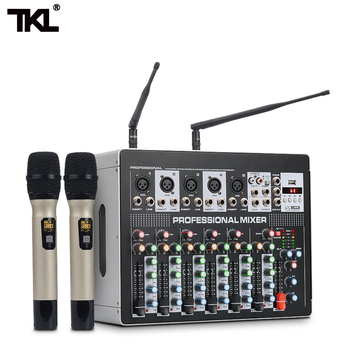 TKL DSP8 7 Channel Mixer Amplifier With Wiress Microphone DJ Sound Mixing Console with USB 48V Phantom Power For karaoke Stage