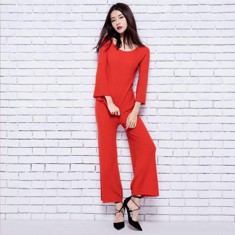 adohon 2018 womens musim dingin Wanita Set sweater Kasmir dan celana - Pakaian Wanita - Foto 2