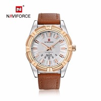 NAVIFORCE Fashion Casual Mens Watches Auto Date Leather Business Quartz Watch Men Wristwatch Relogio Masculino 9118