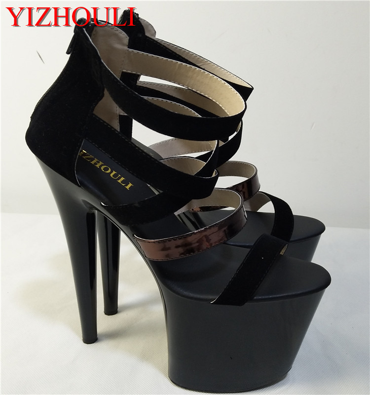 Professional Sale The 2017 New Crossband With High Heel Black Pu Face Round Head Bag And Womens Dance Shoes 17-18-20cm Thick Heel Sandals
