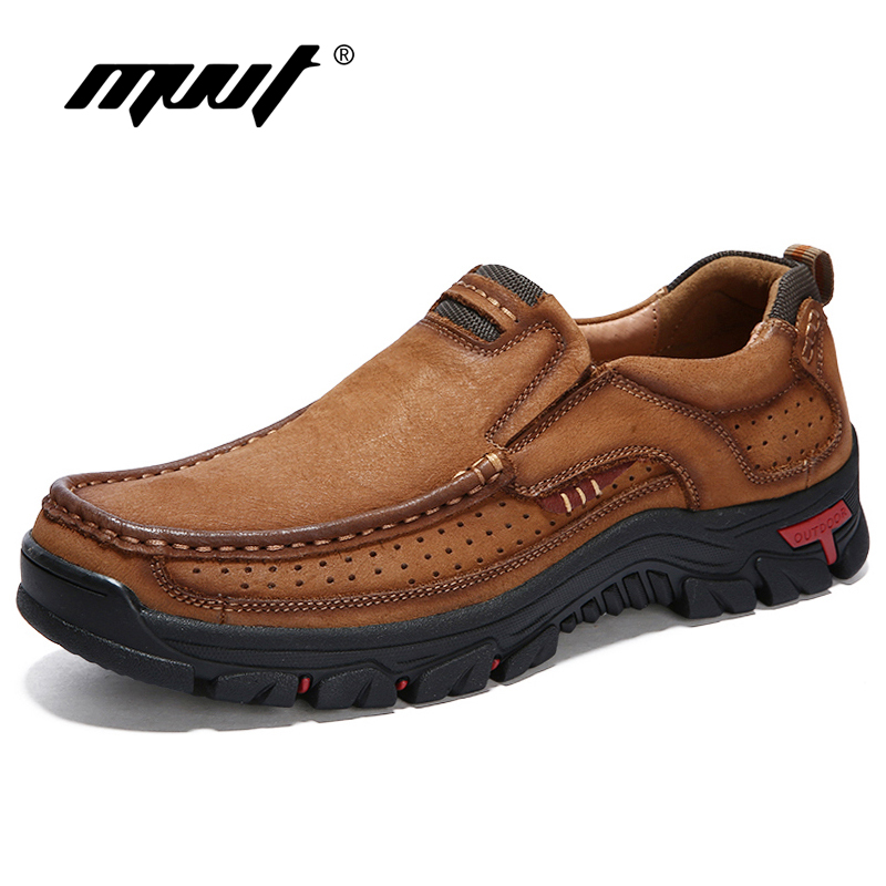 купить MVVT 100% Genuine Leather Shoes Men Cow Leather Casual Shoes Male Outdoor High Quality Men Flats 2 Style Lace-Up Man Footwear