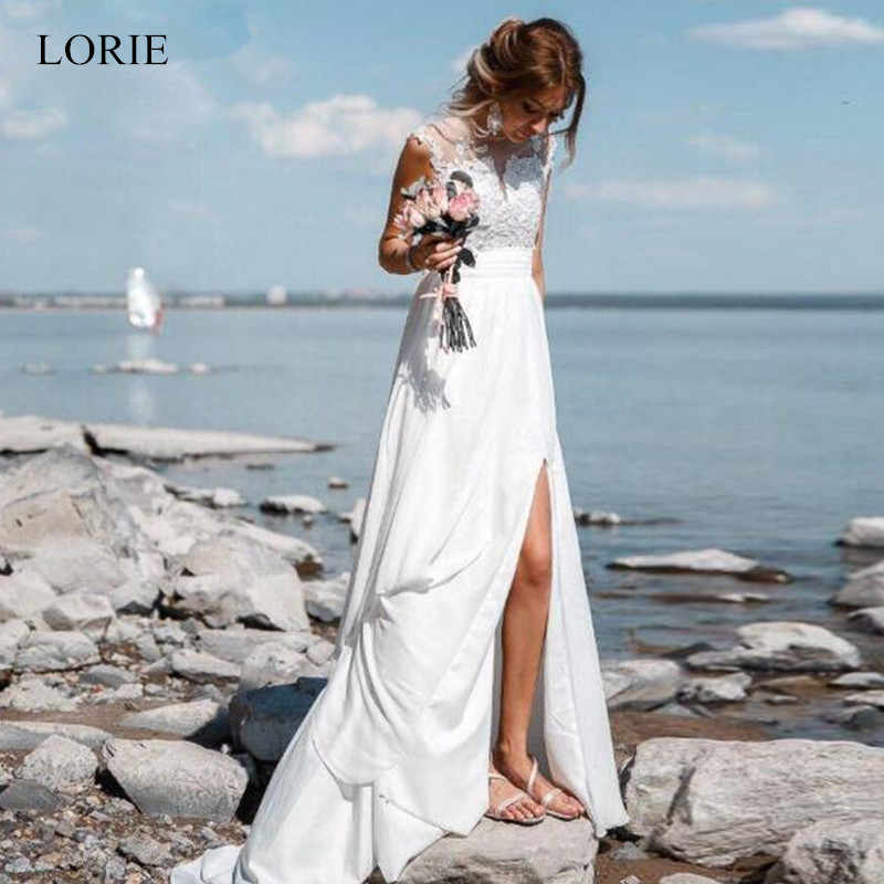 LORIE 2019 Simples Vestido De Novia A Linha de Praia Vestidos de Casamento Sexy Lace Applique Frente Dividir Branco Chiffon Vestido De Noiva