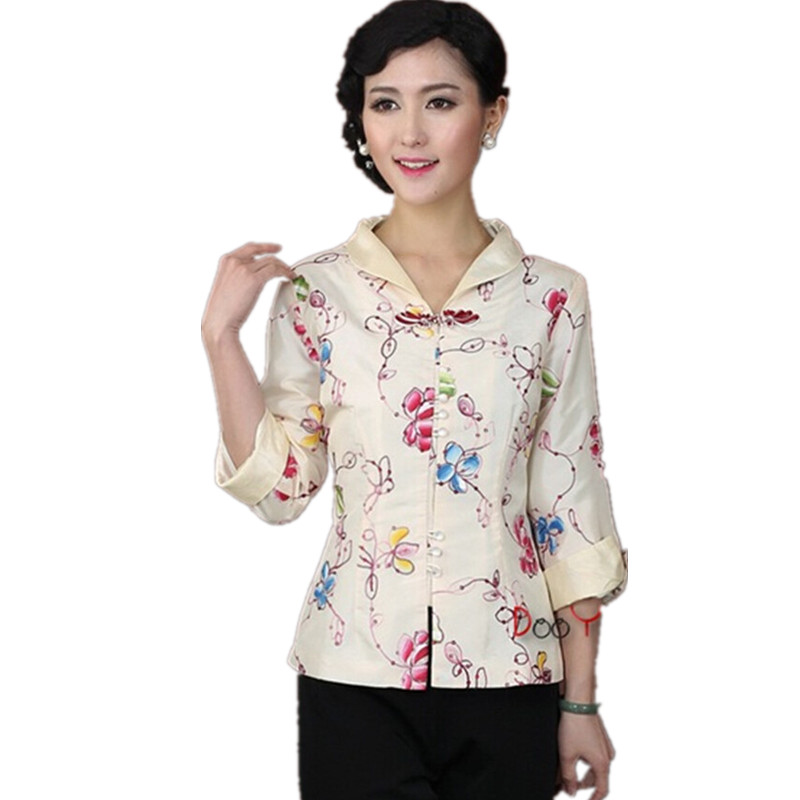 White Chinese Women's Satin Long Sleeve Jacket Classic Style Turn down collar Embroidery Floral Tang Suit Coat Size S 3XL
