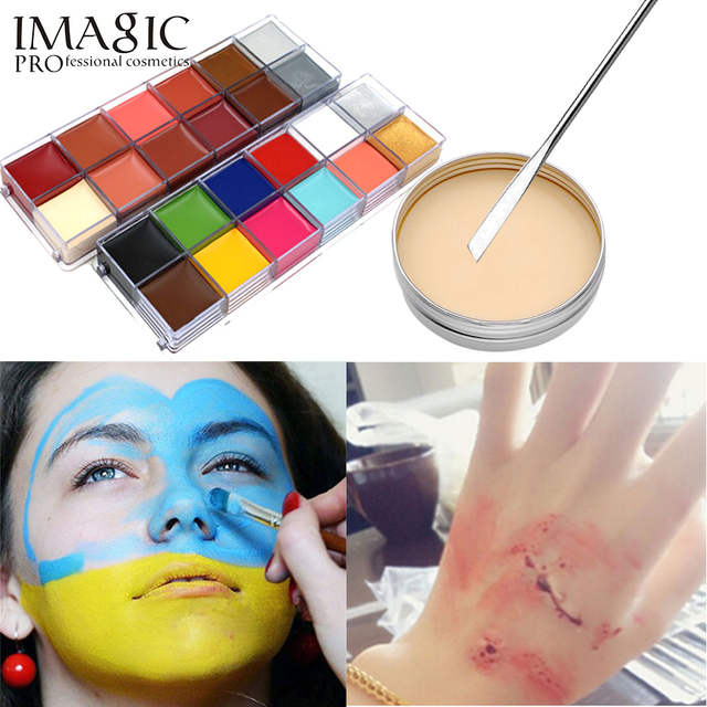 3pcs/Set Special Effects Stage Makeup Fake Wound Scars Wax + Oil  Painting(flash color) + Spatula Tool Halloween products