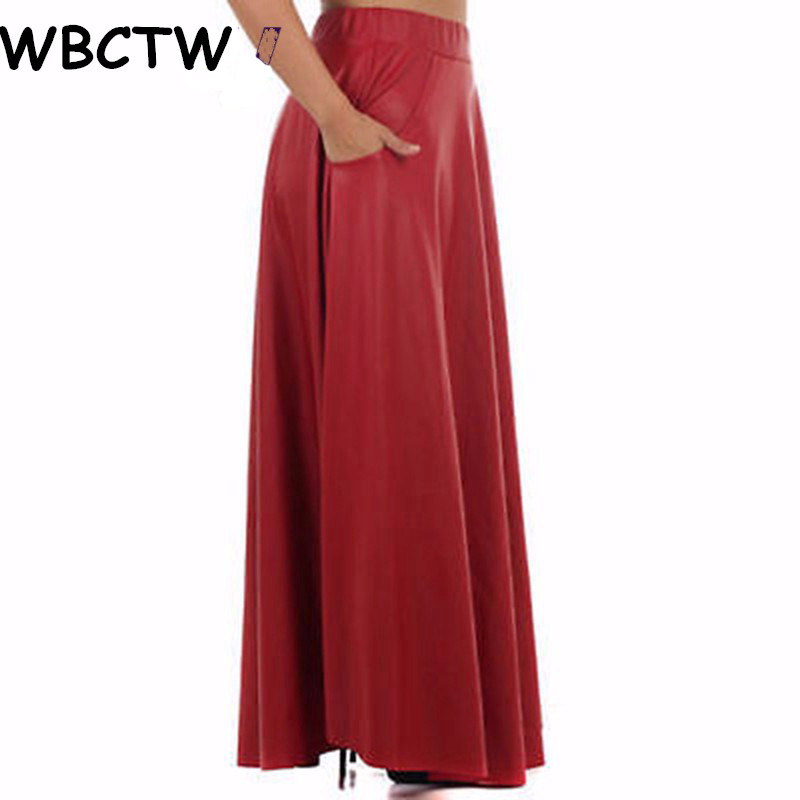 WBCTW Maxi Skirt Fashion Elastic Waist Autumn Winter PU Leather Skirt 2018 Casual Plus Size Long Skirts For Women