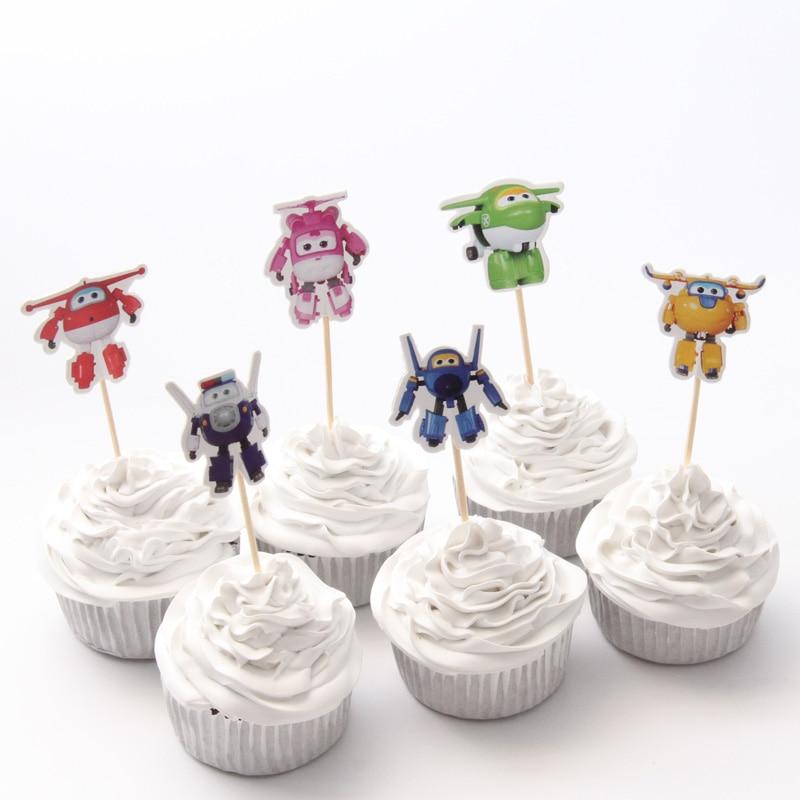 24 pcs/lot Cartoon Super Wings Cupcake Topper Picks Kids Birthday Decoration Cake Insert Card Cupcake Topper baby shower decor