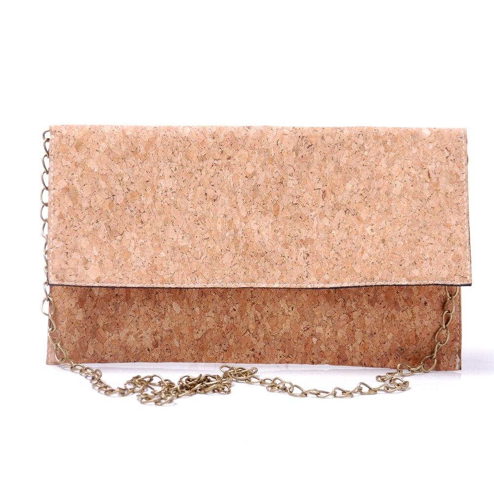 KEIN MOQ Anpassung Kork Kupplung Handtasche Frauen handtasche Crossbody Tasche Mit Eine lange Bronze Kette