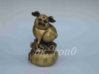 Exquisite Interesting China Brass as wealth and good fortune pig statue