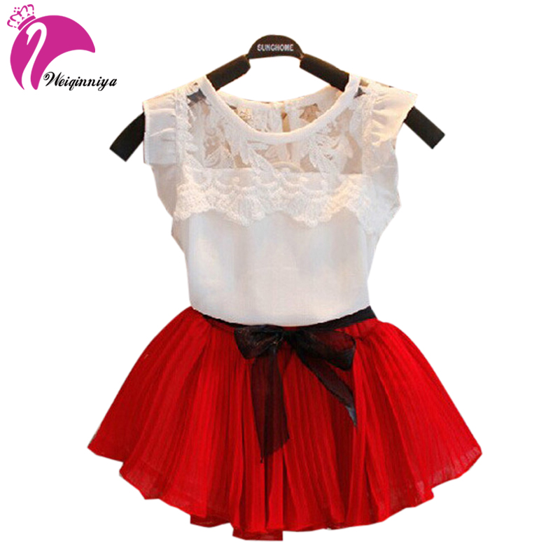 2017 Hollow Out Kids Vest Dress Sleeve 7 Colors Children Clothing Set Kids Solid Lace T-shirts For Girls Children Clothing 2017 new fashion spring summer girls clothing sleeveless hollow out lace dress for kids children tutu vest dress pink white