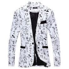 WSGYJ Men Blazer 2019 Brand Men Suit Jacket Funky Oracle Printed Coat Single Bre
