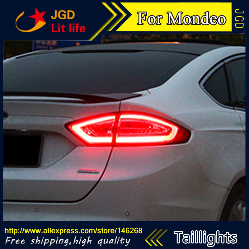 Car Styling tail lights for Ford Mondeo 2013-2016 taillights LED Tail Lamp rear trunk lamp cover drl+signal+brake+reverse car styling tail lights for hyundai santa fe 2007 2013 taillights led tail lamp rear trunk lamp cover drl signal brake reverse