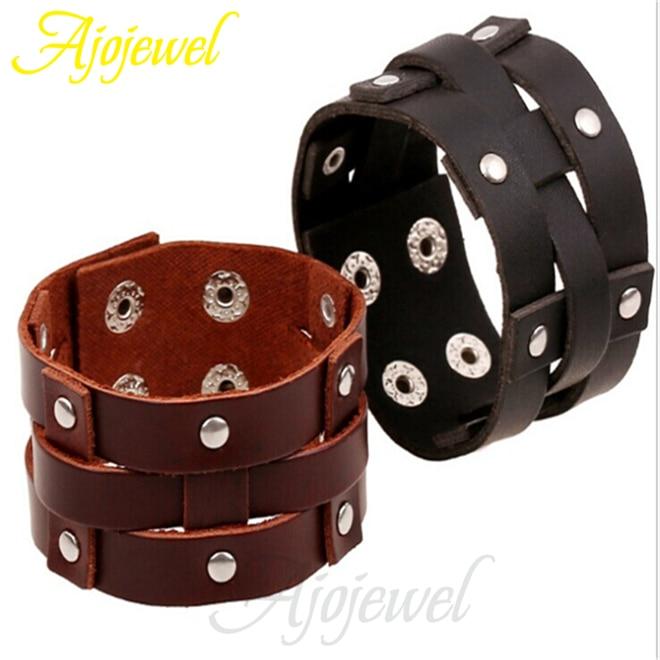 Ajojewel Brand Casual/Sport Jewelry Brown/Black Leather Bracelets For Men