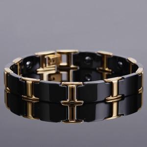 Image 2 - Gold Color Polished Stainless Steel Women Bracelets For Men Luxury Ceramic Health Care Energy Magnetic Man Bracelet Male Female