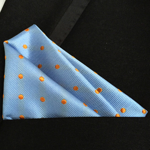 Lingyao Luxury Pocket Square High Quality Woven Handkerchiefs Yellow With Golden Yellow Dots