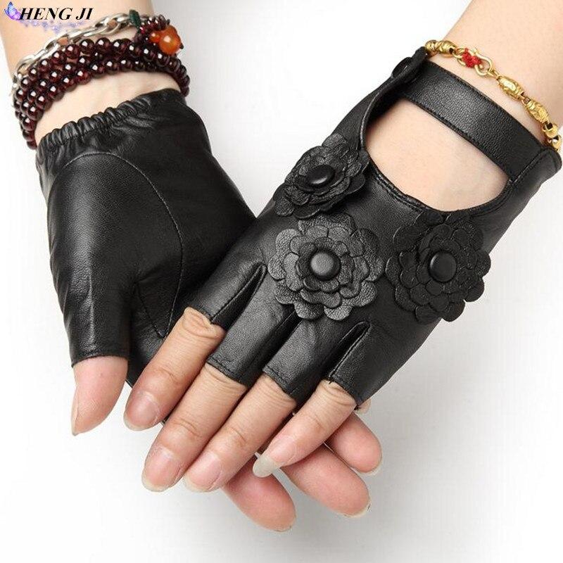 HENG JI The new 2017 ladies leather gloves on 100% of unlined skin half finger gloves fingerless gloves driving fitness gloves