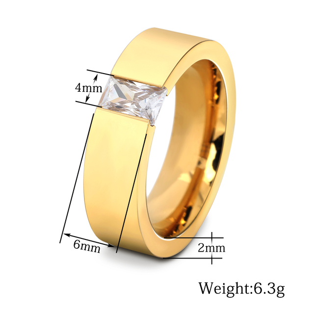Fashion Crystal  Zircon Jewelry Two Color Plated Ring