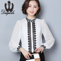 Dingaozlz Chiffon OL Shirt 2018 New Korean Fashion Embroidery Stitching Lace Tops Elegant Fashion Long Sleeve