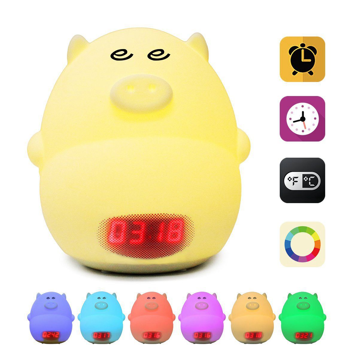 Promotion! Night Light Alarm Clock for Kids Cute Pig Clock USB LED Lights Silicone Baby Lamp Color Changing 2 Alarms, 3 Sounds