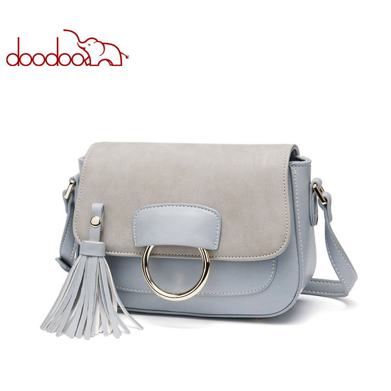 DOODOO Women Shoulder Bags Ladies Solid Messenger Bag Female Small Handbag Artificial Leather Small Saddle Crossbody Bag Purse new fashion women message bags with small purse metal ring handle leather handbag ladies girls trendy shoulder bag balestra