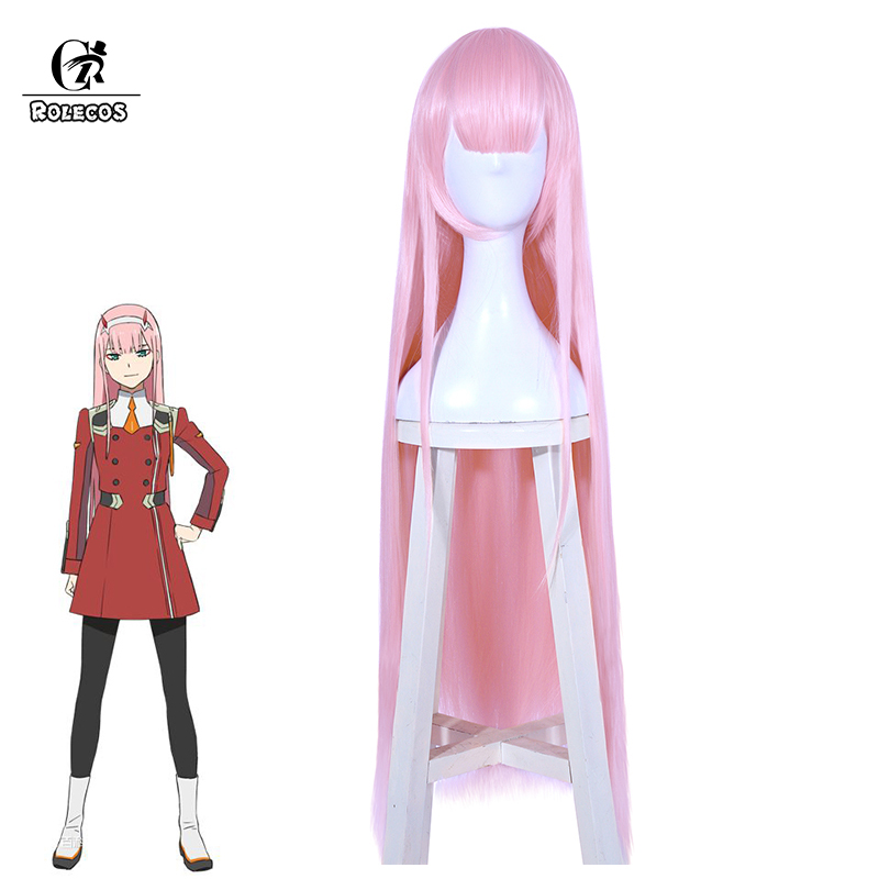 ROLECOS DARLING in the FRANXX Cosplay Headwear 02 Cosplay Synthetic Hair Zero Two 100cm Pink Long Synthetic Hair for Women