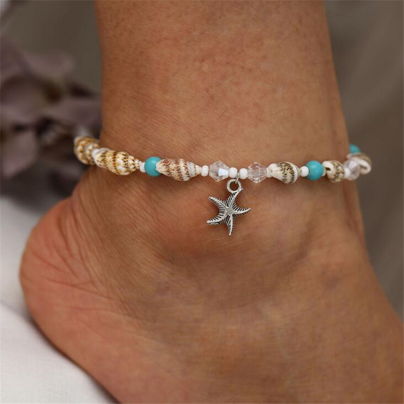 Bohemian Silver Color Anklet Bracelet On The Leg Fashion Shell Female Anklets Barefoot For Women Leg Chain Beach Foot Jewelry in Anklets from Jewelry Accessories